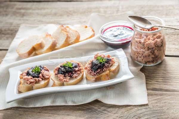 Sandwiches with pate and berry jam Stock photo © Alex9500