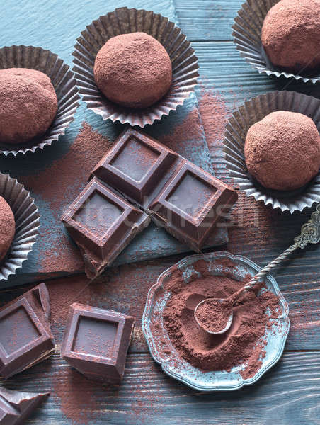Rum balls with cocoa powder and chocolate slices Stock photo © Alex9500