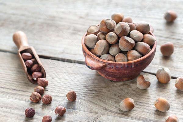 Foto stock: Rústico · tigela · mesa · de · madeira · comida · natureza