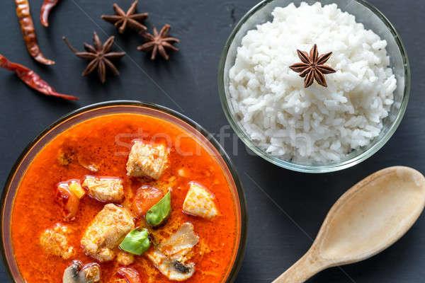 Tajska czerwony chicken curry biały ryżu mleka Zdjęcia stock © Alex9500