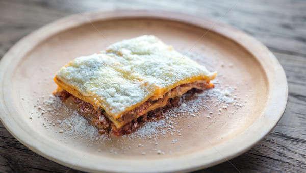 Stok fotoğraf: Lazanya · plaka · gıda · arka · plan · restoran · uzay