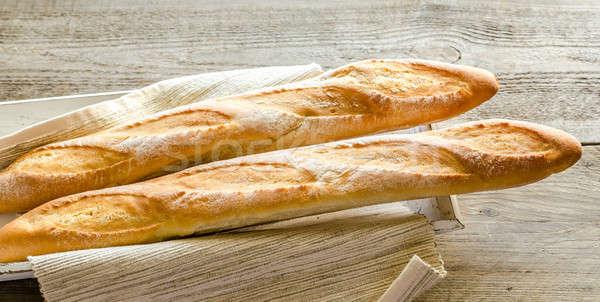 Stockfoto: Twee · baguettes · houten · dienblad · tarwe · ontbijt
