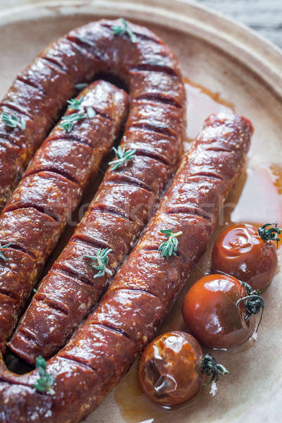 Roasted chorizo with cherry tomatoes Stock photo © Alex9500