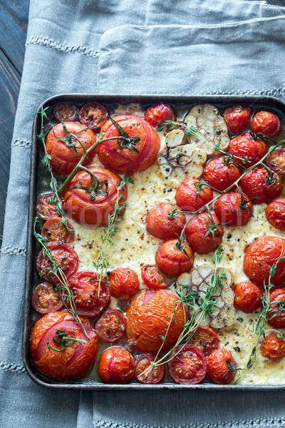Fraîches tomates feta ail plateau pas Photo stock © Alex9500