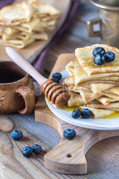 Frescos arándanos miel fondo desayuno comer Foto stock © Alex9500