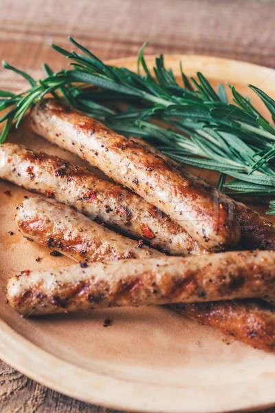 Gegrild worstjes rosmarijn voedsel vlees ontbijt Stockfoto © Alex9500