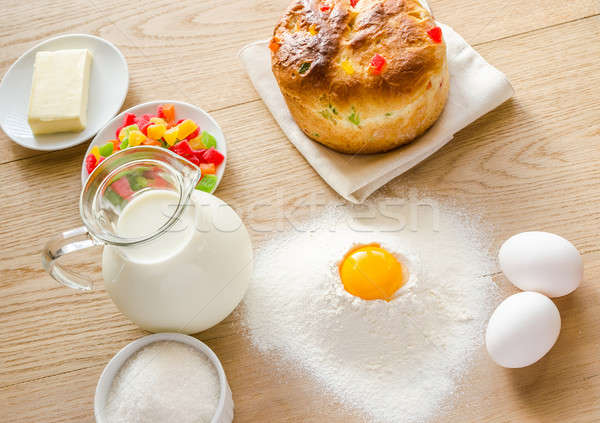 Basic ingredients for sweet bread (panettone) Stock photo © Alex9500