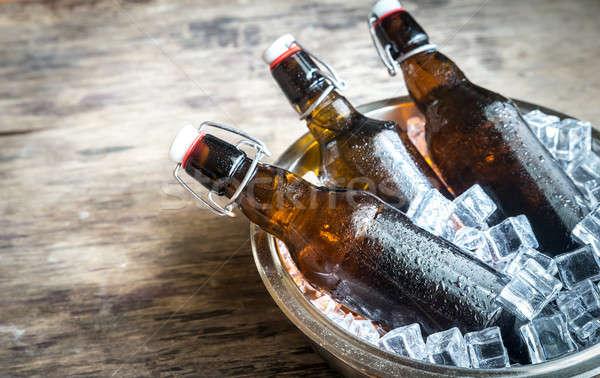 Zdjęcia stock: Butelek · piwa · szkła · tabeli · grupy
