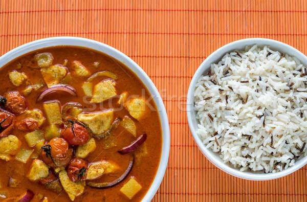 Tajska żółty curry kurczaka ryżu świetle Zdjęcia stock © Alex9500