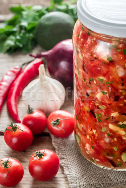Jar of salsa with ingredients Stock photo © Alex9500