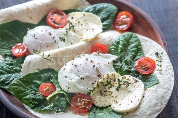 Tortilla panini uova mozzarella spinaci pomodorini Foto d'archivio © Alex9500