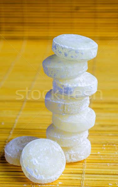 Сток-фото: продовольствие · фон · льда · желтый · капли · Sweet