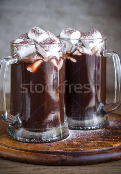 deux chocolat chaud alimentaire caf chocolat vert photo stock oleksandr. Black Bedroom Furniture Sets. Home Design Ideas