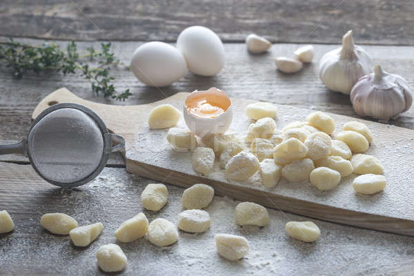Stok fotoğraf: Patates · malzemeler · gıda · makarna · buğday · tahta