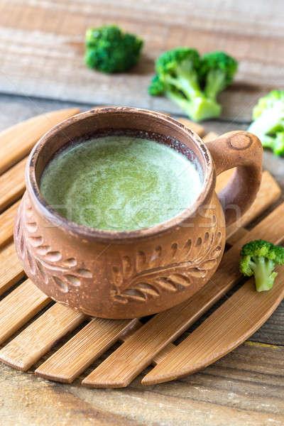 Cup of broccoli coffee with broccoli florets Stock photo © Alex9500