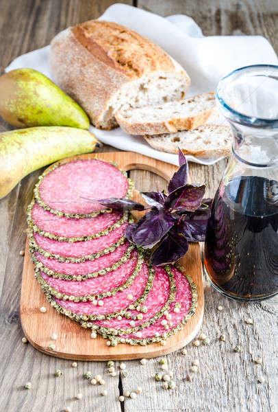 Italiaans salami peren wijn voedsel Stockfoto © Alex9500