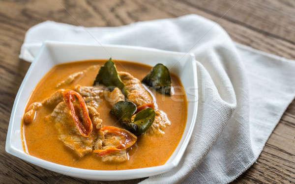 Foto stock: Thai · caril · carne · de · porco · comida · verde · vermelho