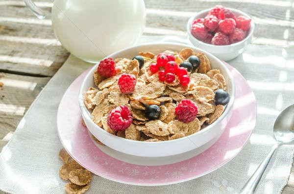Teljes kiőrlésű granola tej friss bogyók piros Stock fotó © Alex9500