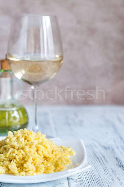 Adag rizottó üveg fehérbor asztal sajt Stock fotó © Alex9500