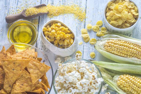 Stockfoto: Variatie · producten · achtergrond · tabel · mais · landbouw