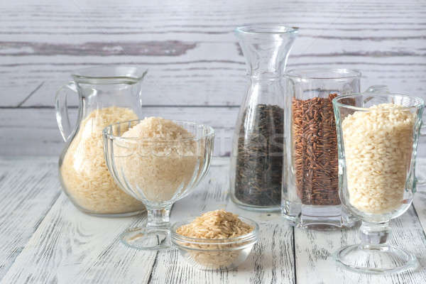 Stock photo: Different kinds of rice on the white background