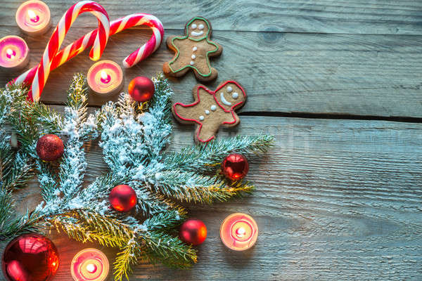 Stock photo: Decorated Christmas tree branch with cookies and candies