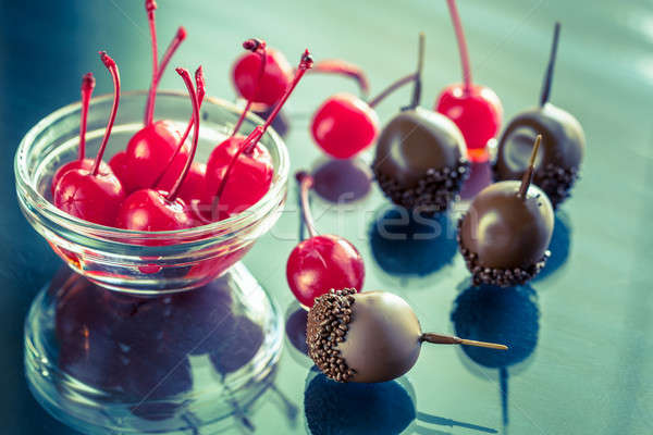 Chocolate and cocktail cherries on the glass Stock photo © Alex9500