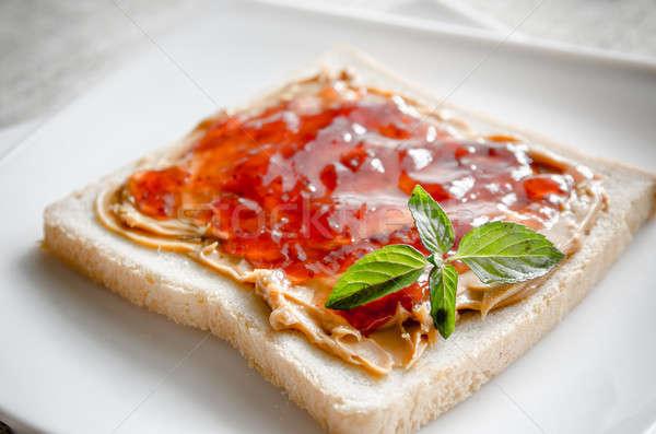 Sandwich pindakaas aardbei gelei groene ontbijt Stockfoto © Alex9500