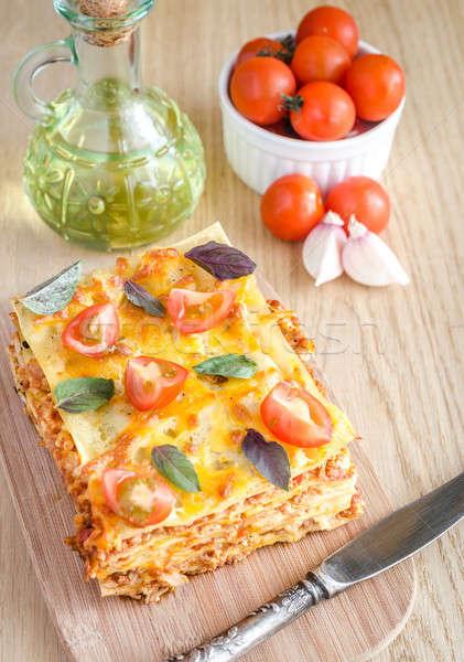 ラザニア チェリートマト 食品 チーズ 小麦 フォーク ストックフォト © Alex9500