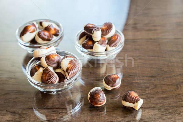 Conchiglie alimentare amore mare vetro cioccolato Foto d'archivio © Alex9500