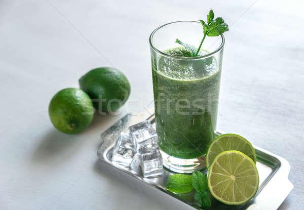 Zöld smoothie étel levél üveg asztal zöld Stock fotó © Alex9500