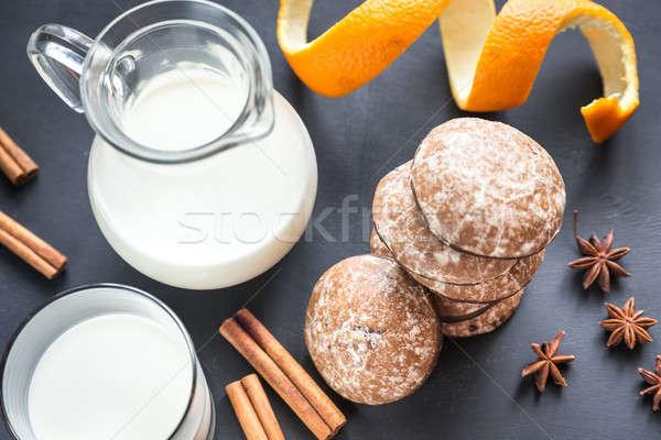 Pão de especiarias bolos jarro leite bolo laranja Foto stock © Alex9500