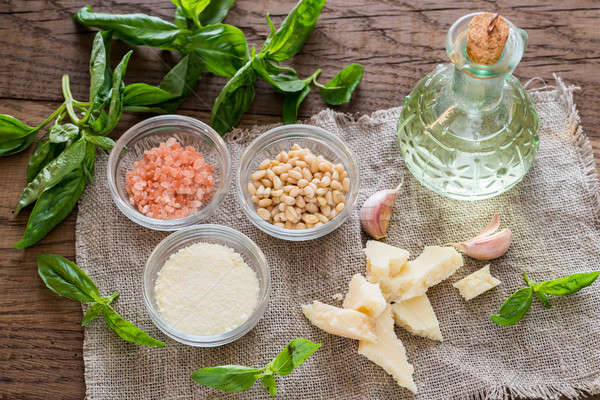Ingredients for pesto on the wooden table Stock photo © Alex9500