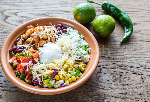Chicken burrito bowl Stock photo © Alex9500