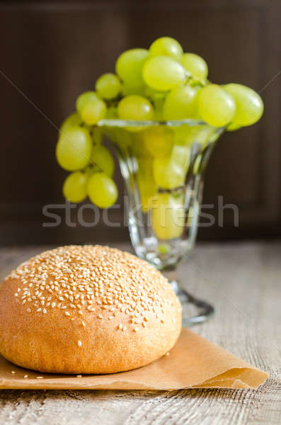 Sesame bun and bunch of grapes Stock photo © Alex9500