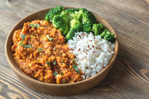 Foto stock: Tigela · vermelho · caril · branco · arroz