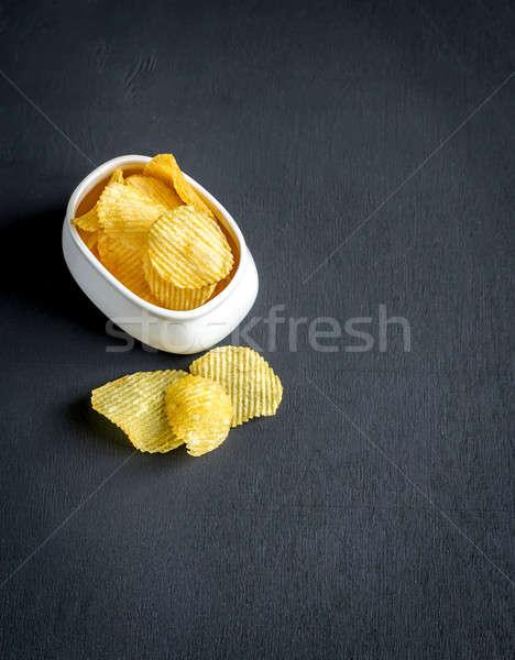 Chips glas kom voedsel zwarte witte Stockfoto © Alex9500