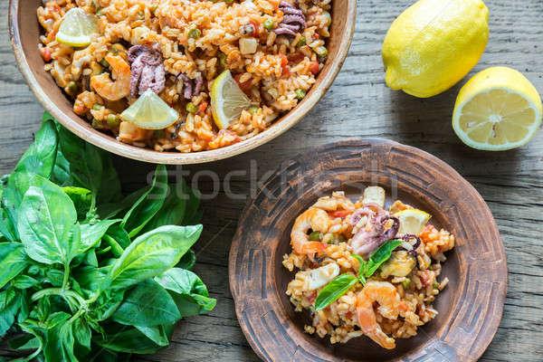 Seafood paella Stock photo © Alex9500