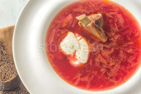 Borsch - Ukrainian traditional beetroot soup Stock photo © Alex9500