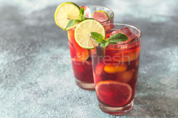 Two glasses with Spanish fruit Sangria Stock photo © Alex9500