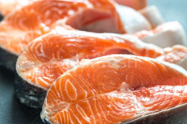 Crudo trucha alimentos peces naranja rojo Foto stock © Alex9500