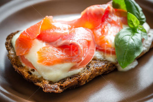 Sandwich with trout, mozzarella and tomatoes Stock photo © Alex9500
