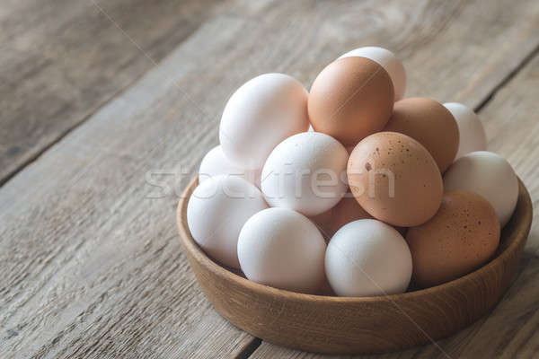 Wooden bowl of raw chicken eggs Stock photo © Alex9500