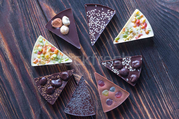 Chocolate candies with different toppings Stock photo © Alex9500