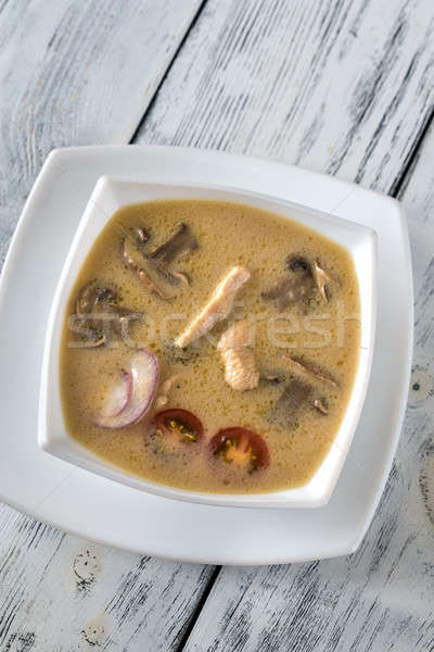 Bowl of thai tom kha soup Stock photo © Alex9500