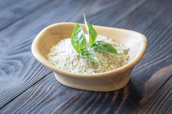 Kom basmati rijst groene kleur asian Stockfoto © Alex9500