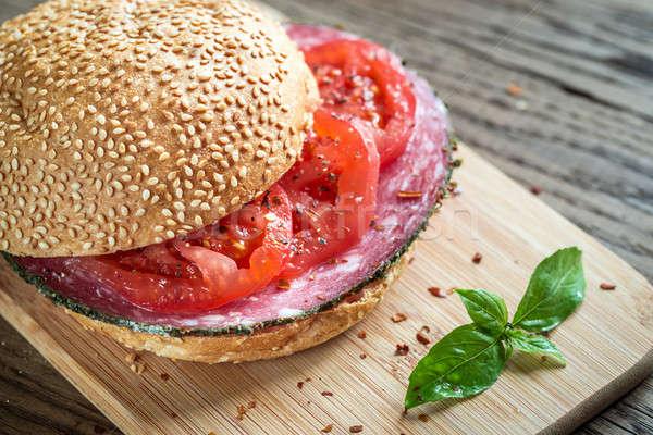 Szendvics szalámi paradicsomok étel kenyér vacsora Stock fotó © Alex9500