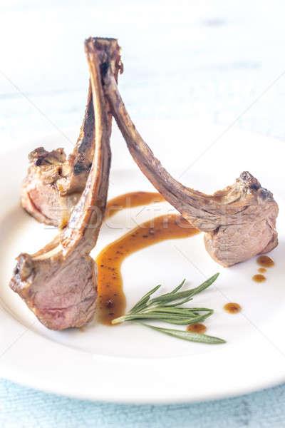 Grillezett bárány borda tányér konyha étterem Stock fotó © Alex9500