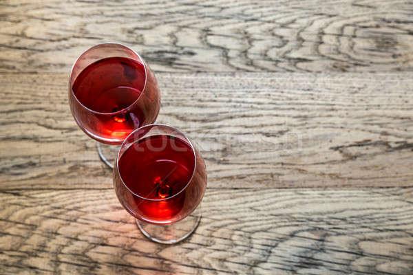 Verres rose verre de vin vin verre fond Photo stock © Alex9500