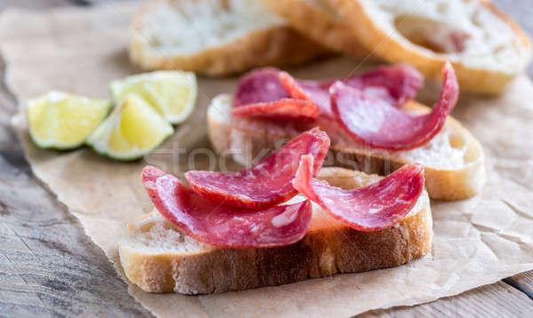 Ciabatta sandwiches with fuet Stock photo © Alex9500